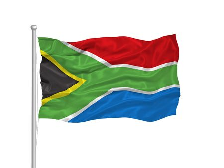 illustration of waving South African flag on white illustration