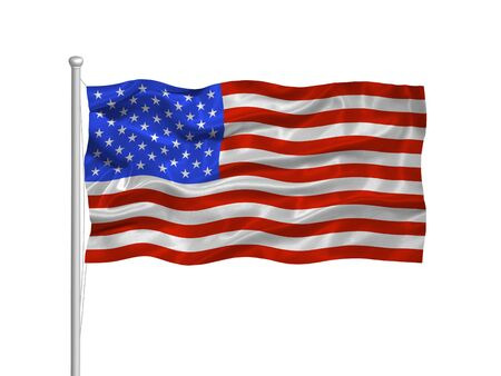 illustration of waving American Flag on white