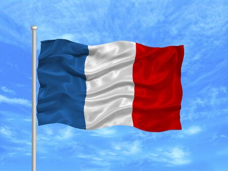 illustration of waving French flag on blue sky illustration