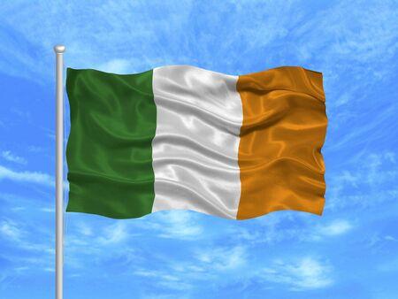 illustration of waving Irish flag on blue sky illustration