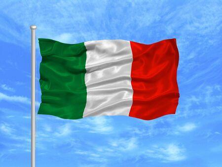 illustration of waving Italian flag on blue sky illustration