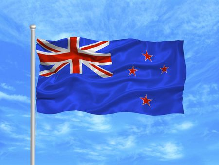 illustration of waving New Zealander flag on blue sky illustration