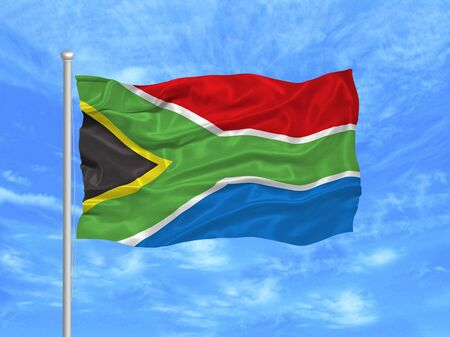 flagpoles: illustration of waving South African flag on blue sky