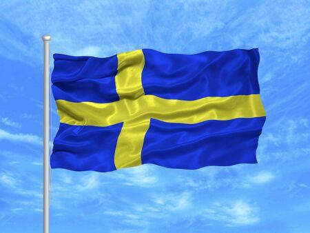 illustration of waving Swedish flag on blue sky illustration