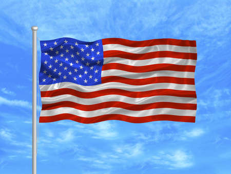allegiance: illustration of waving American Flag on blue sky Stock Photo