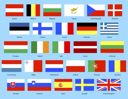 illustration of the 27 nation flags in European Union illustration