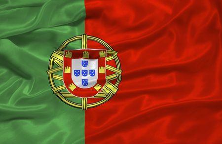 portugese: illustration of waving Portugese Flag close up