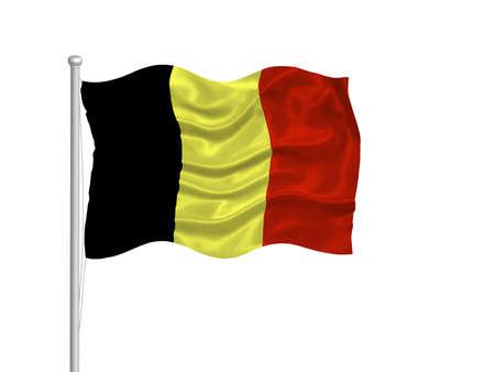 illustration of waving Belgian Flag on white