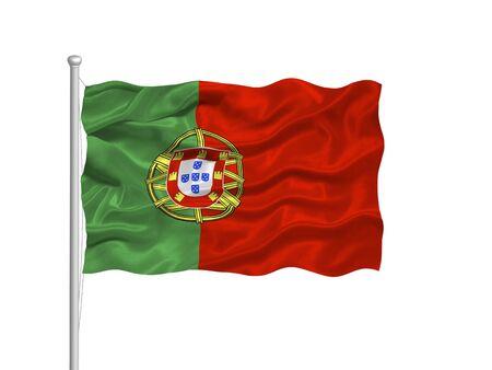 portugese: illustration of waving Portugese Flag on white Stock Photo