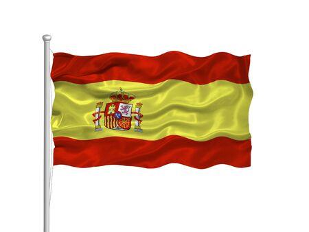 flag spain: illustration of waving Spanish Flag on white Stock Photo