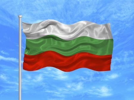 Illustration de agitant un drapeau bulgare sur ciel bleu