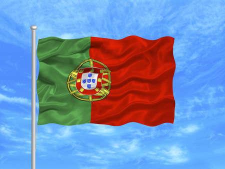 portugese: illustration of waving Portugese Flag on blue sky