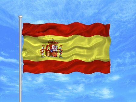flagpoles: illustration of waving Spanish Flag on blue sky