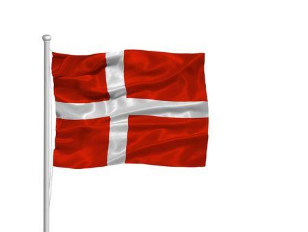 flagpoles: illustration of waving Danish Flag on white Stock Photo
