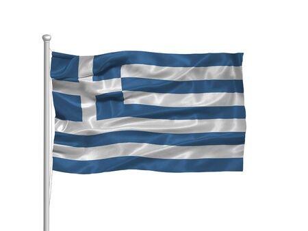 flagpoles: illustration of waving Greek Flag on white