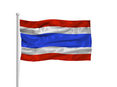 illustration of waving Thai Flag on white illustration