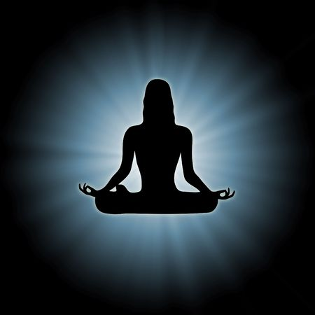 mind body soul: illustration of woman doing yoga on star burst background