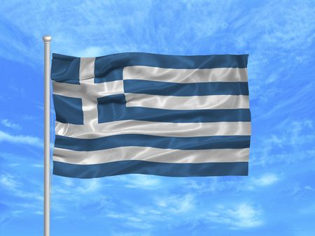 the greek flag: illustration of waving Greek Flag on blue sky Stock Photo