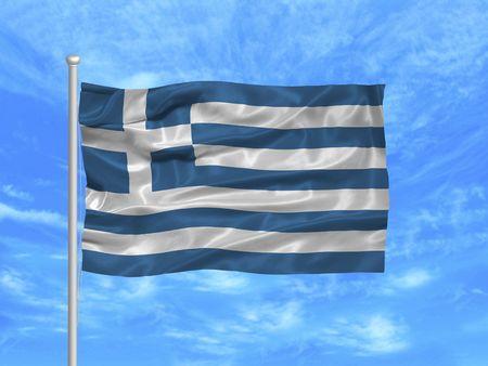 Illustration von winkenden griechischen Flagge auf blauem Himmel Standard-Bild - 2920590