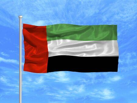 arab flags: illustration of waving United Arab Emirates Flag on blue sky