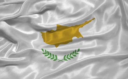 illustration of waving Cypriot  Flag close up