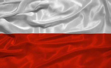 illustration of waving Polish Flag close up Stock Photo
