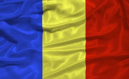 illustration of waving Romanian Flag close up