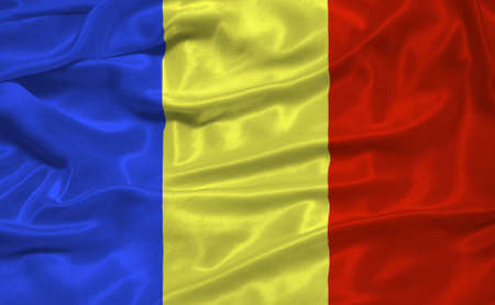 illustration of waving Romanian Flag close up