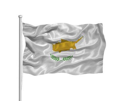 illustration of waving Cypriot  Flag on white Imagens