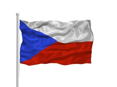 illustration of waving Czech Flag on white illustration