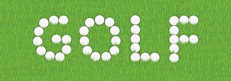 driving range: illustration of GOLF written with golf balls
