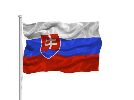 flagpoles: illustration of waving Slovakian Flag on white Stock Photo