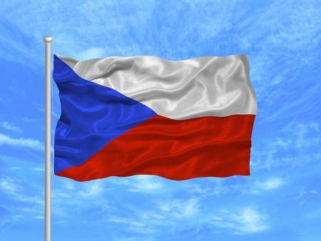 illustration of waving Czech Flag on blue sky illustration
