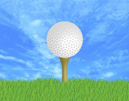 driving range: illustration of golf ball on tee in the grass Stock Photo