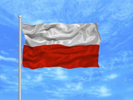 flagpoles: illustration of waving Polish Flag on blue sky