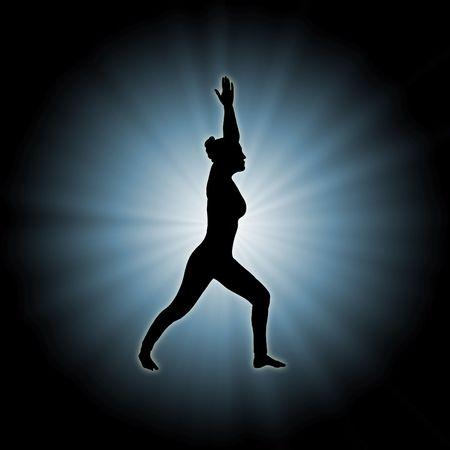 illustration of woman doing yoga on star burst background Stock Illustration - 2934849