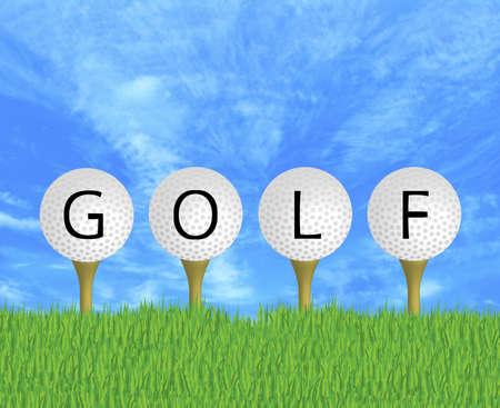 driving range: illustration of GOLF written on golf balls