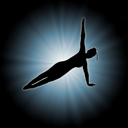illustration of woman doing yoga on star burst background illustration