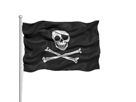 illustration of pirate skull and crossbones on flag