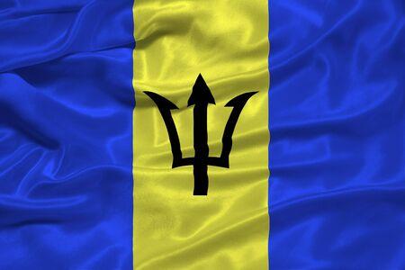barbadian: illustration of waving Barbadian Flag close up