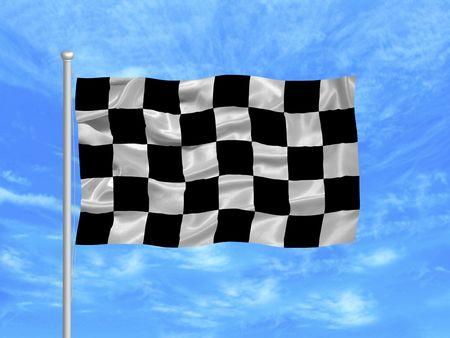 flagpoles: illustration of black and white checkered flag