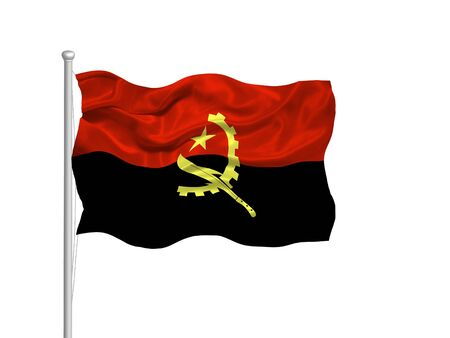 illustration of waving Angolan Flag on white illustration