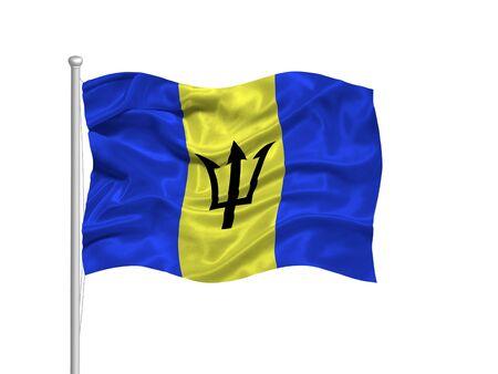barbadian: illustration of waving Barbadian Flag on white Stock Photo