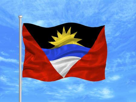 flagpoles: illustration of waving Antiguan and Barbudan Flag on blue sky
