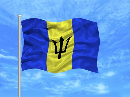 barbadian: illustration of waving Barbadian Flag on blue sky