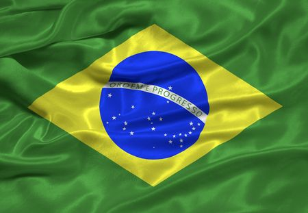 illustration of waving Brazlian Flag close up