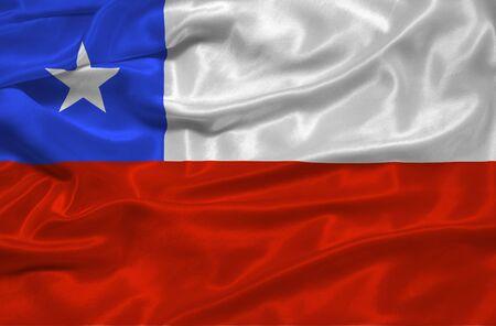 chilean flag: ilustraci�n de bandera chilena ondeando cerca  Foto de archivo