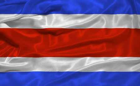 costa rican: illustration of waving Costa Rican Flag close up
