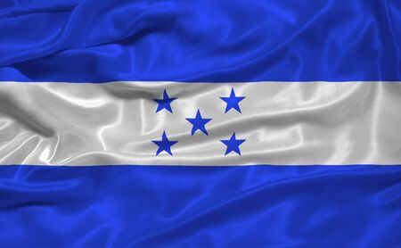 illustration of waving Honduran Flag close up illustration