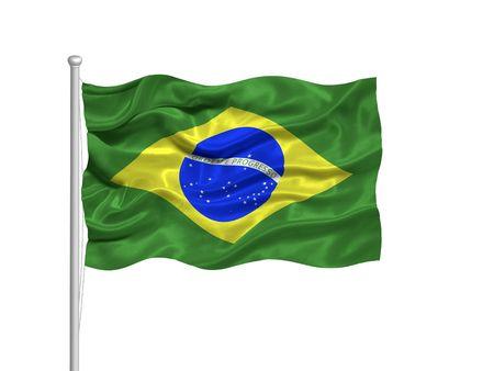 illustration of waving Brazlian Flag on white illustration